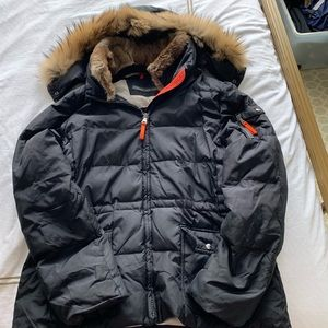 Andrew Marc Black Down Puffer with Real Fur Hood